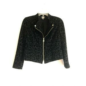 Anne Klein Black Velvet Burnout Jacket S Devoré
